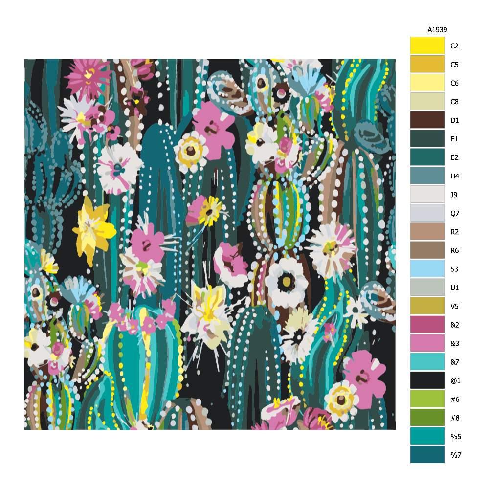 Malování podle čísel Kaktusové pole
