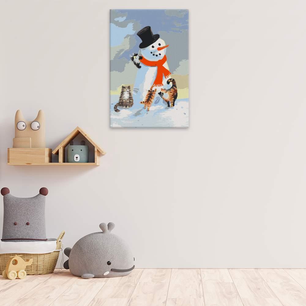 Malování podle čísel Koťata se sněhulákem