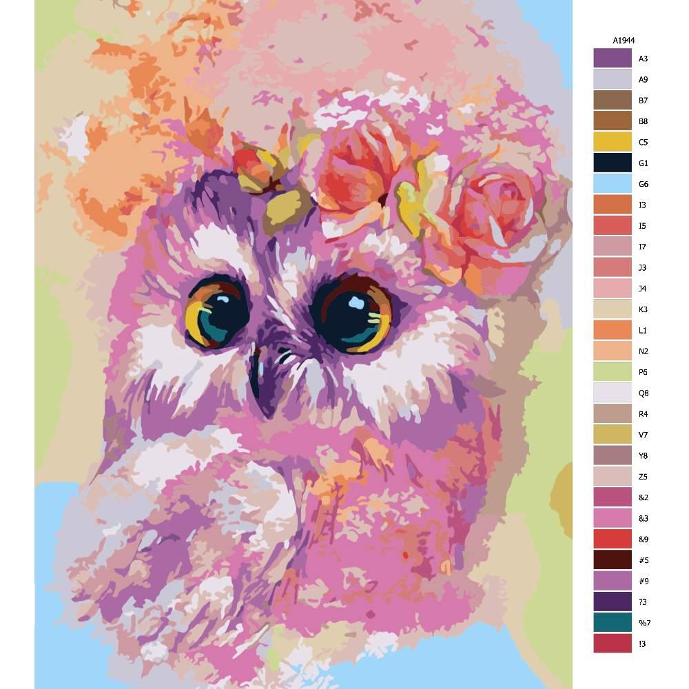 Návod pro malování podle čísel Malá sovička s růží