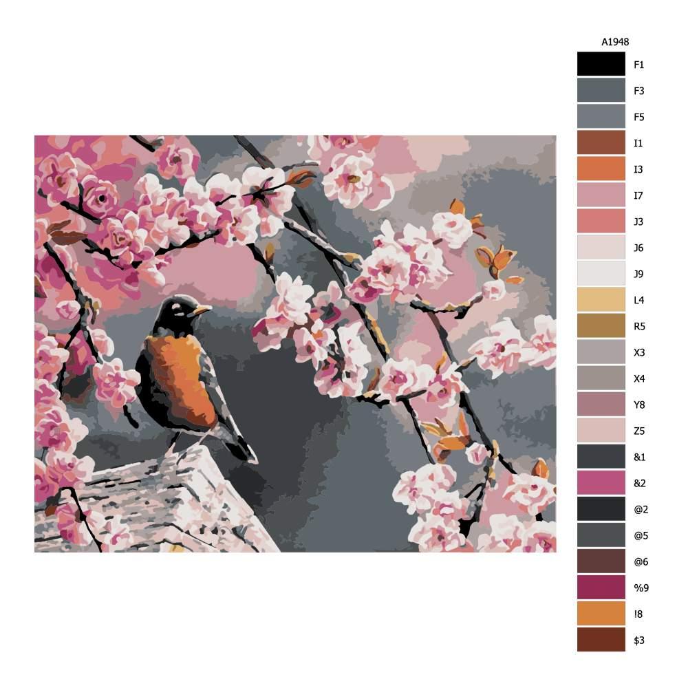 Návod pro malování podle čísel Ptáček pod třešní