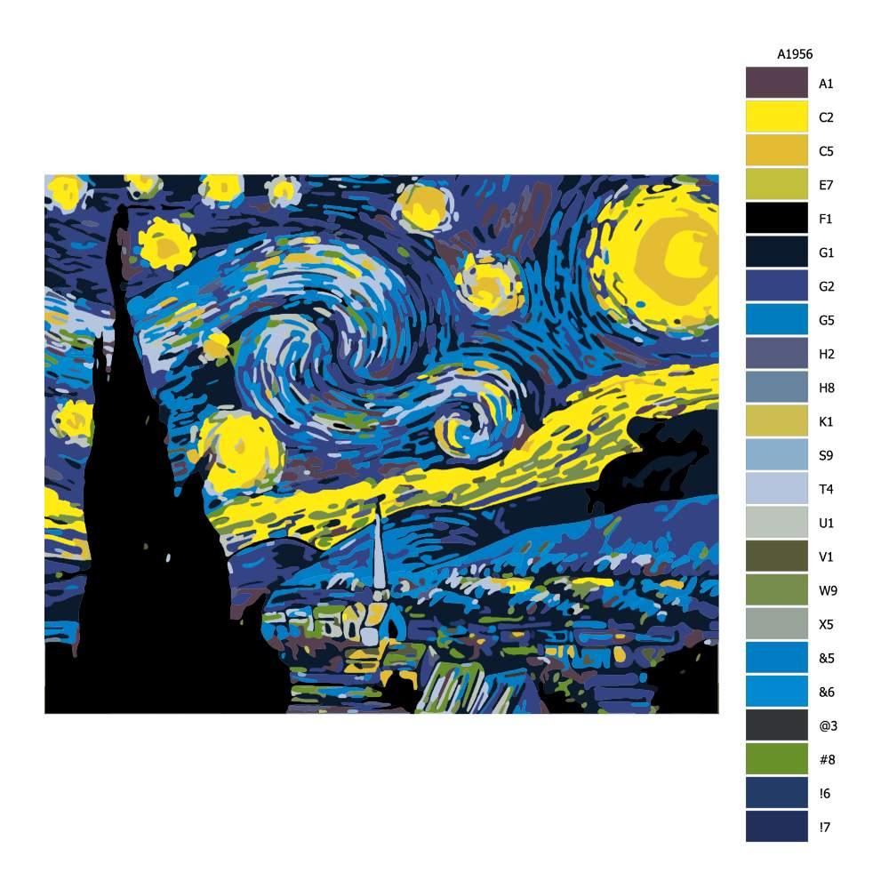 Návod pro malování podle čísel Hvězdná noc Van Gogh