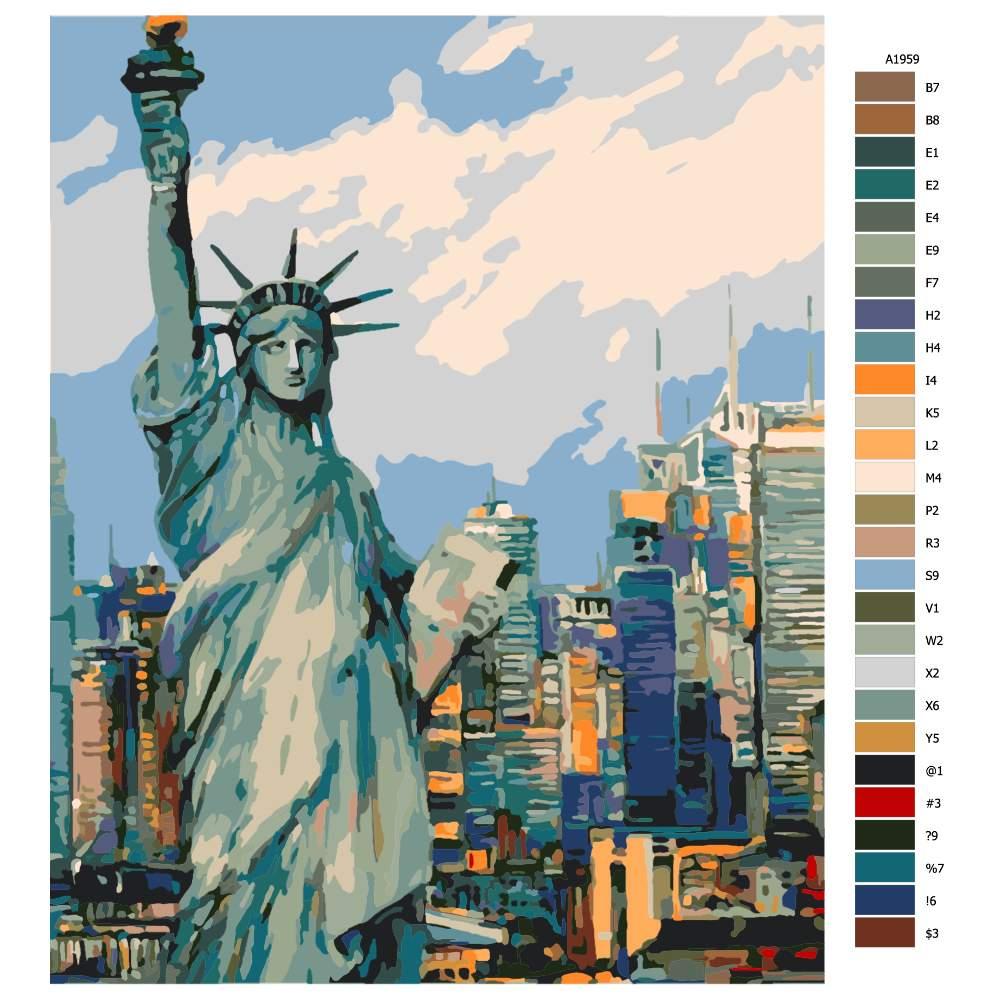 Návod pro malování podle čísel Socha Svobody