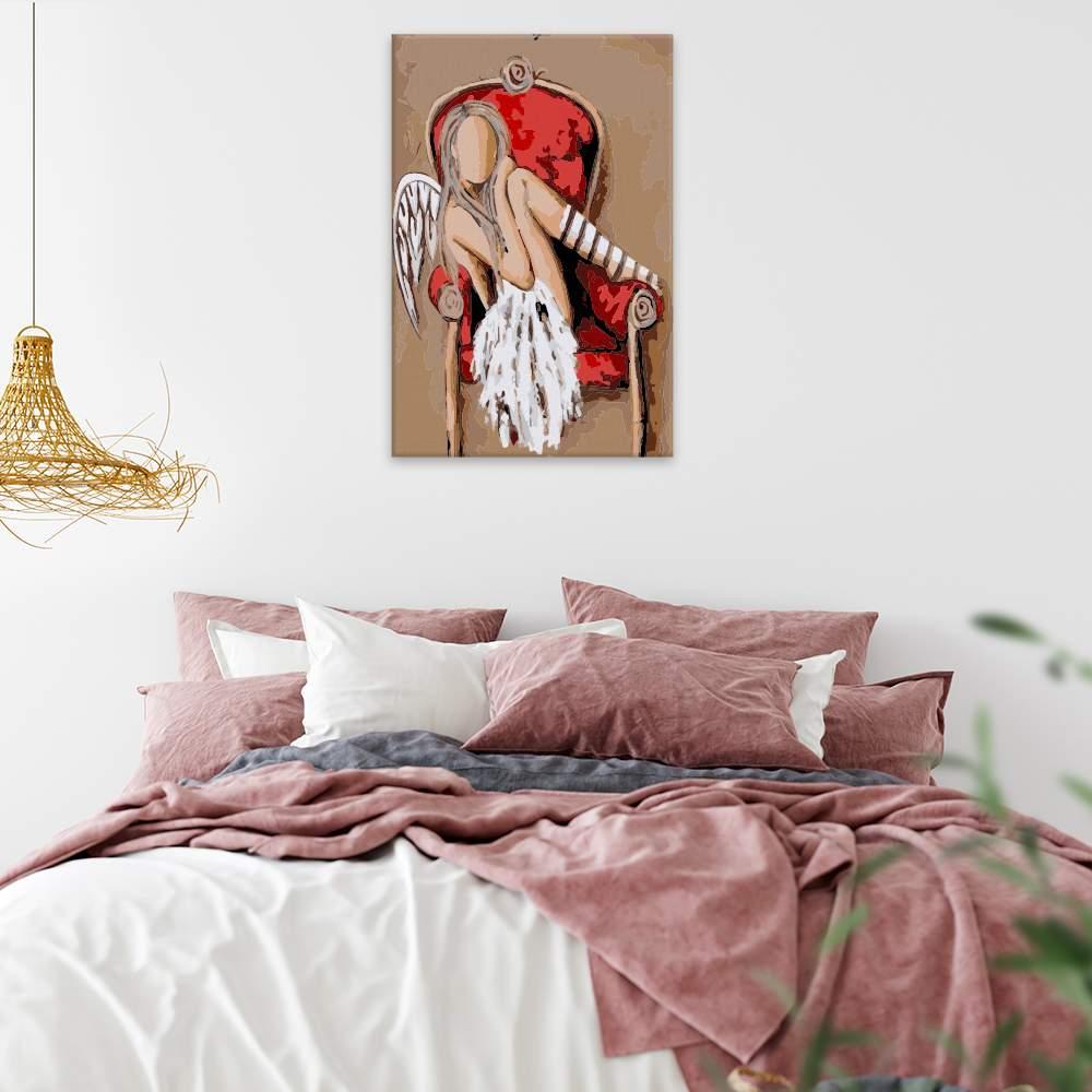 Malování podle čísel Anděl v červeném křesle