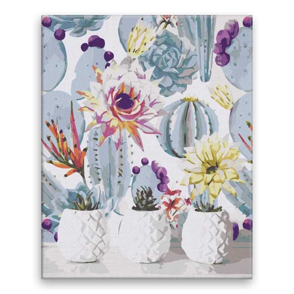 Malování podle čísel Kaktusy v bílém květináči