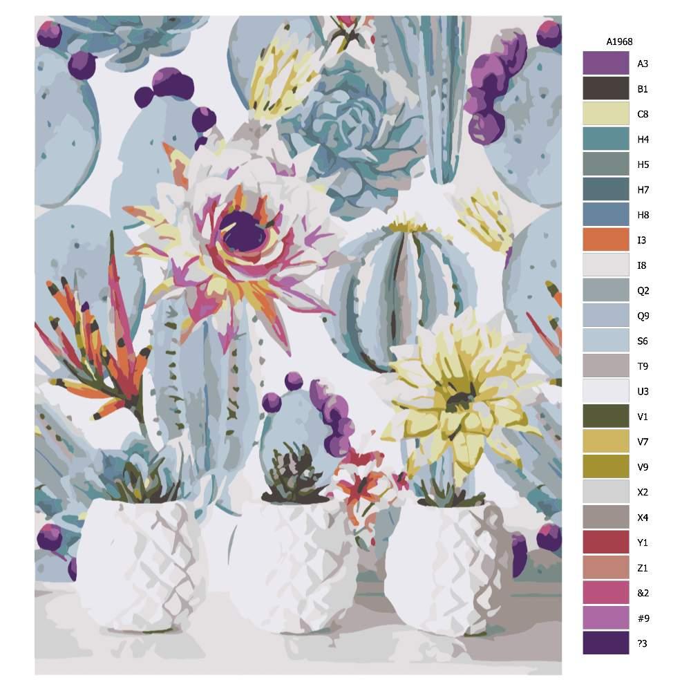 Návod pro malování podle čísel Kaktusy v bílém květináči