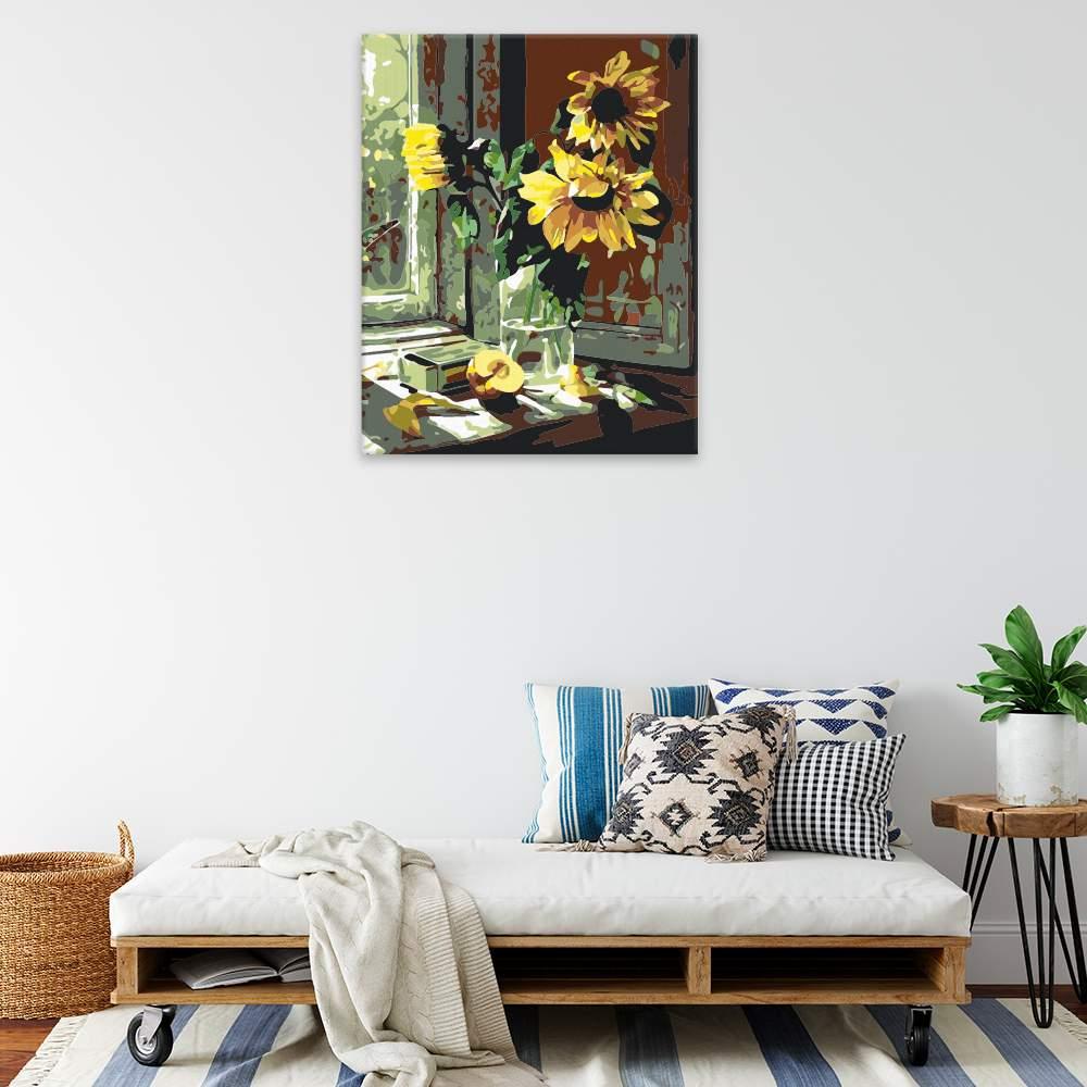 Malování podle čísel Povadlé slunečnice