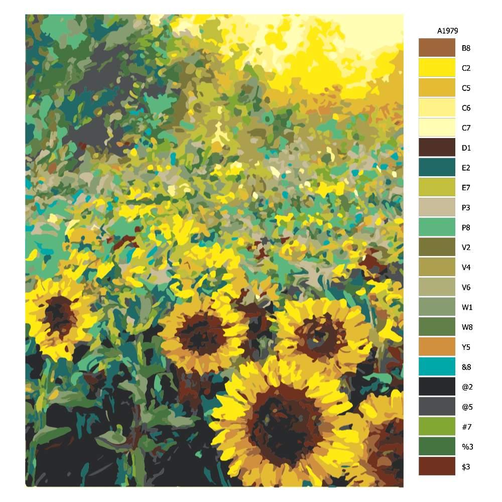 Návod pro malování podle čísel Slunečnice v dokvětu