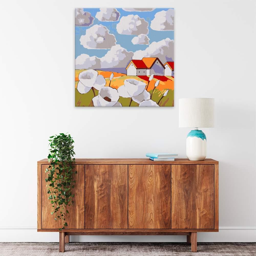 Malování podle čísel Bělavé květy na louce