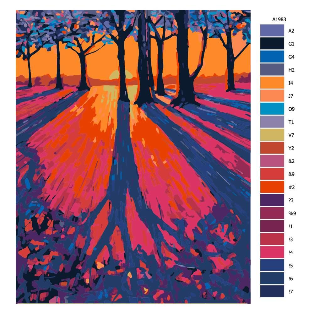 Návod pro malování podle čísel Prozářený východ slunce