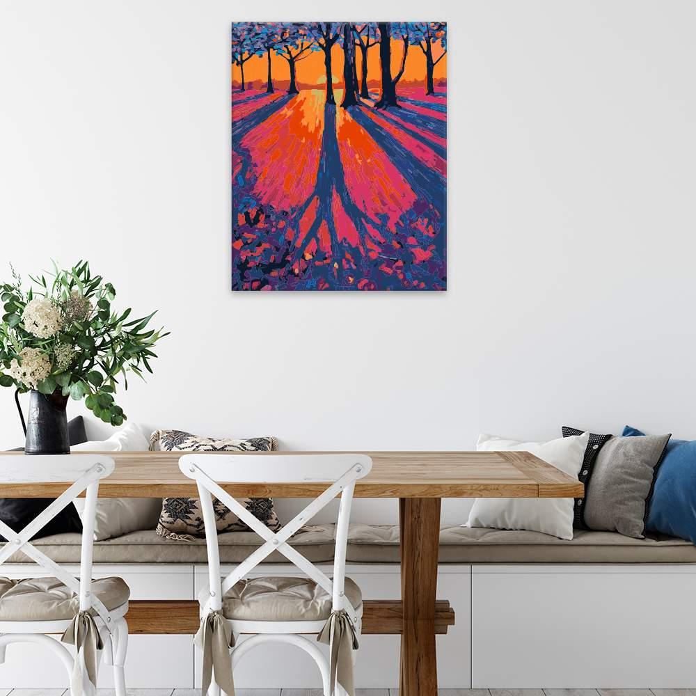 Malování podle čísel Prozářený východ slunce