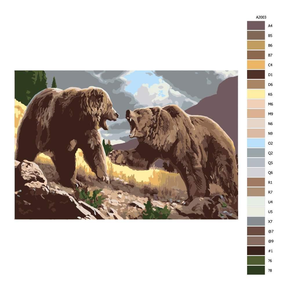 Návod pro malování podle čísel Souboj o teritorium