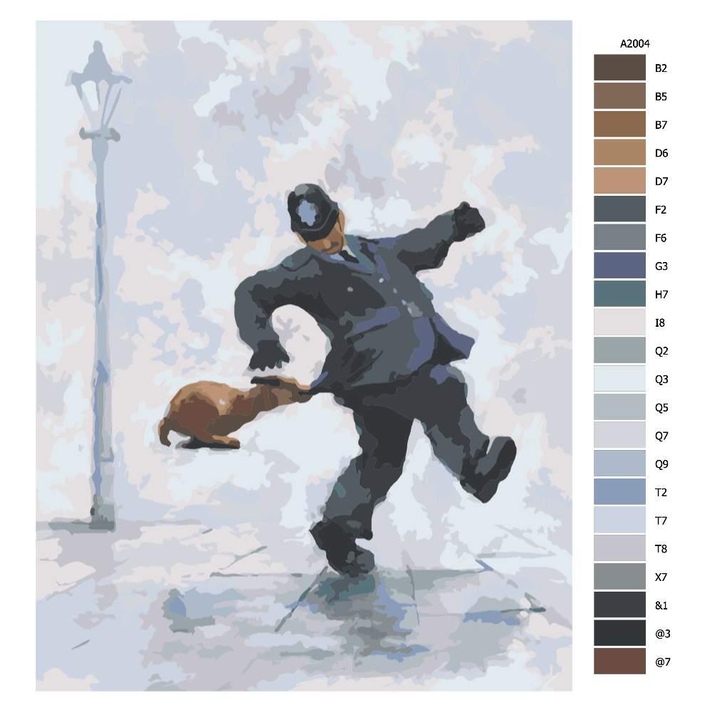 Návod pro malování podle čísel Četník s Píďou v závěsu