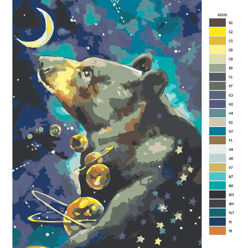 Návod pro malování podle čísel Souhvězdí velké medvědice