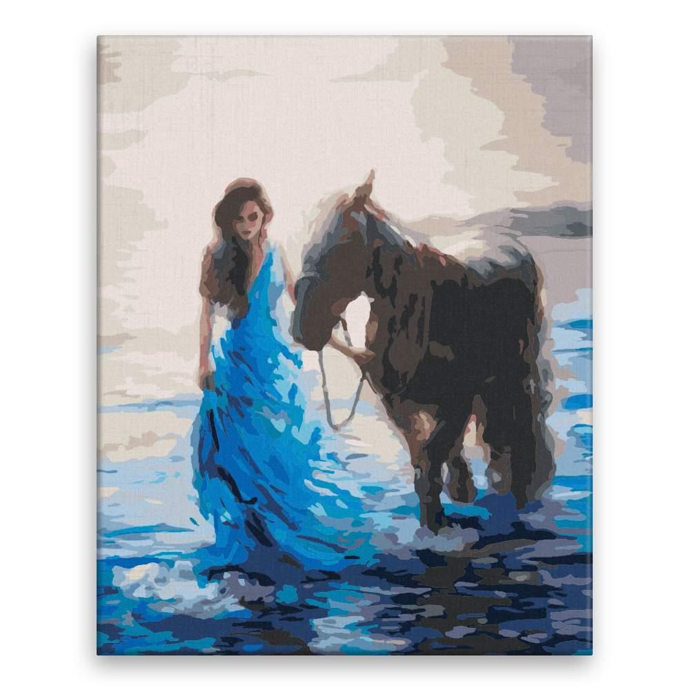 Malování podle čísel Mořská víla se svým koněm