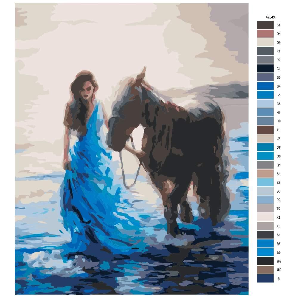Návod pro malování podle čísel Mořská víla se svým koněm