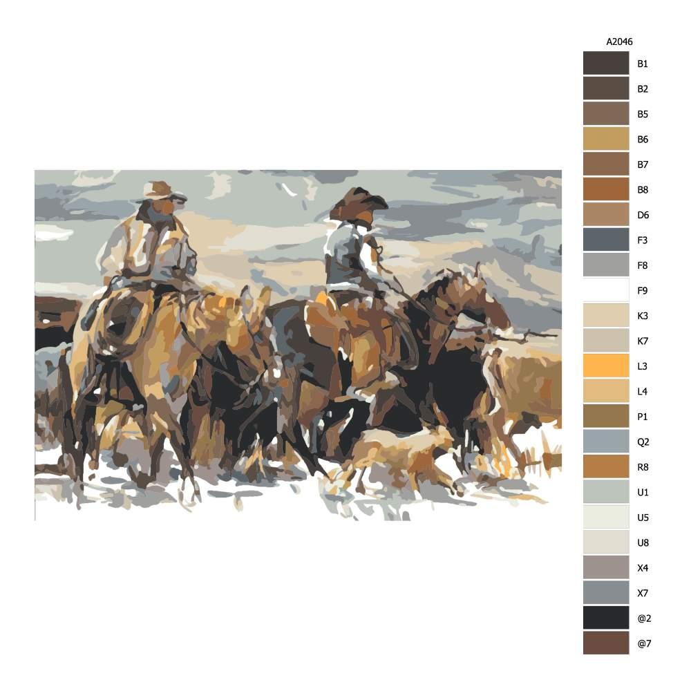 Návod pro malování podle čísel Kovbojové