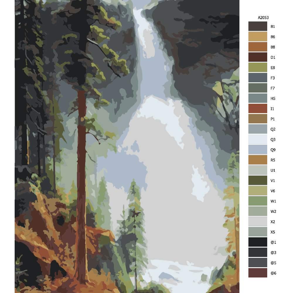 Návod pro malování podle čísel Vodopád