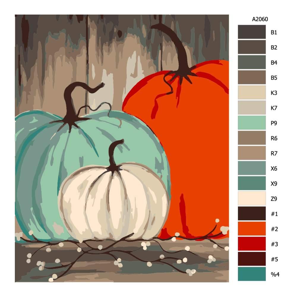 Návod pro malování podle čísel Tři barevné dýně