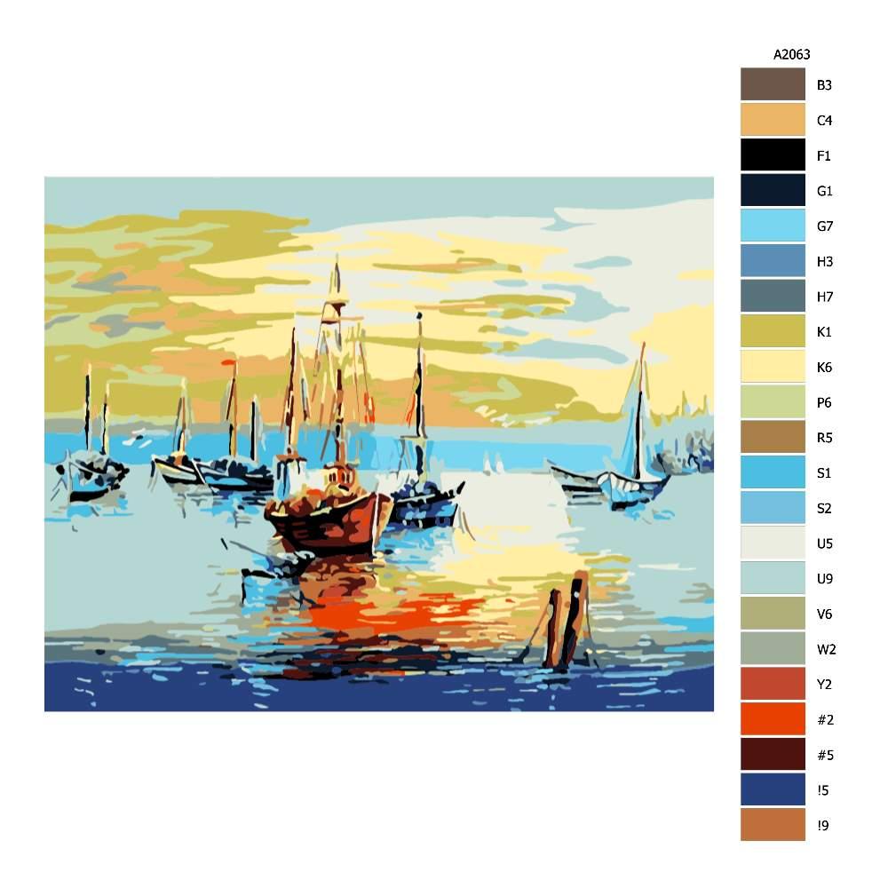 Návod pro malování podle čísel Poklidné přístaviště