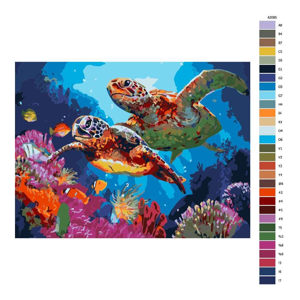 Malování podle čísel Mořské želvy
