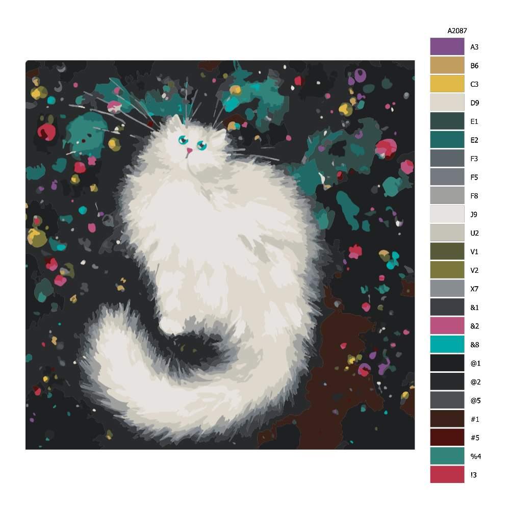 Návod pro malování podle čísel Bílá chlupatá kočka ve hvězdách