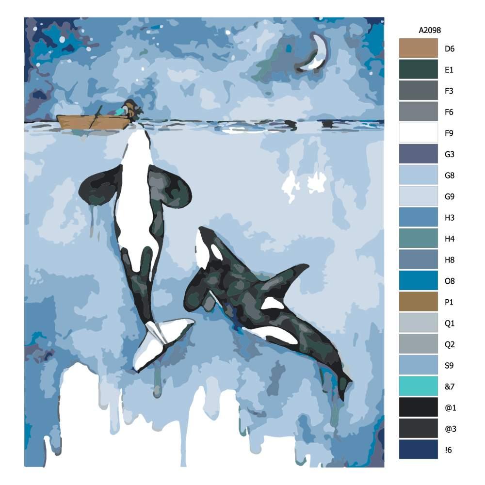 Návod pro malování podle čísel Dvě kosatky a dívka na lodi