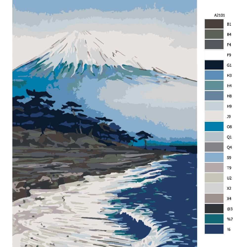 Návod pro malování podle čísel Pod horou Fuji