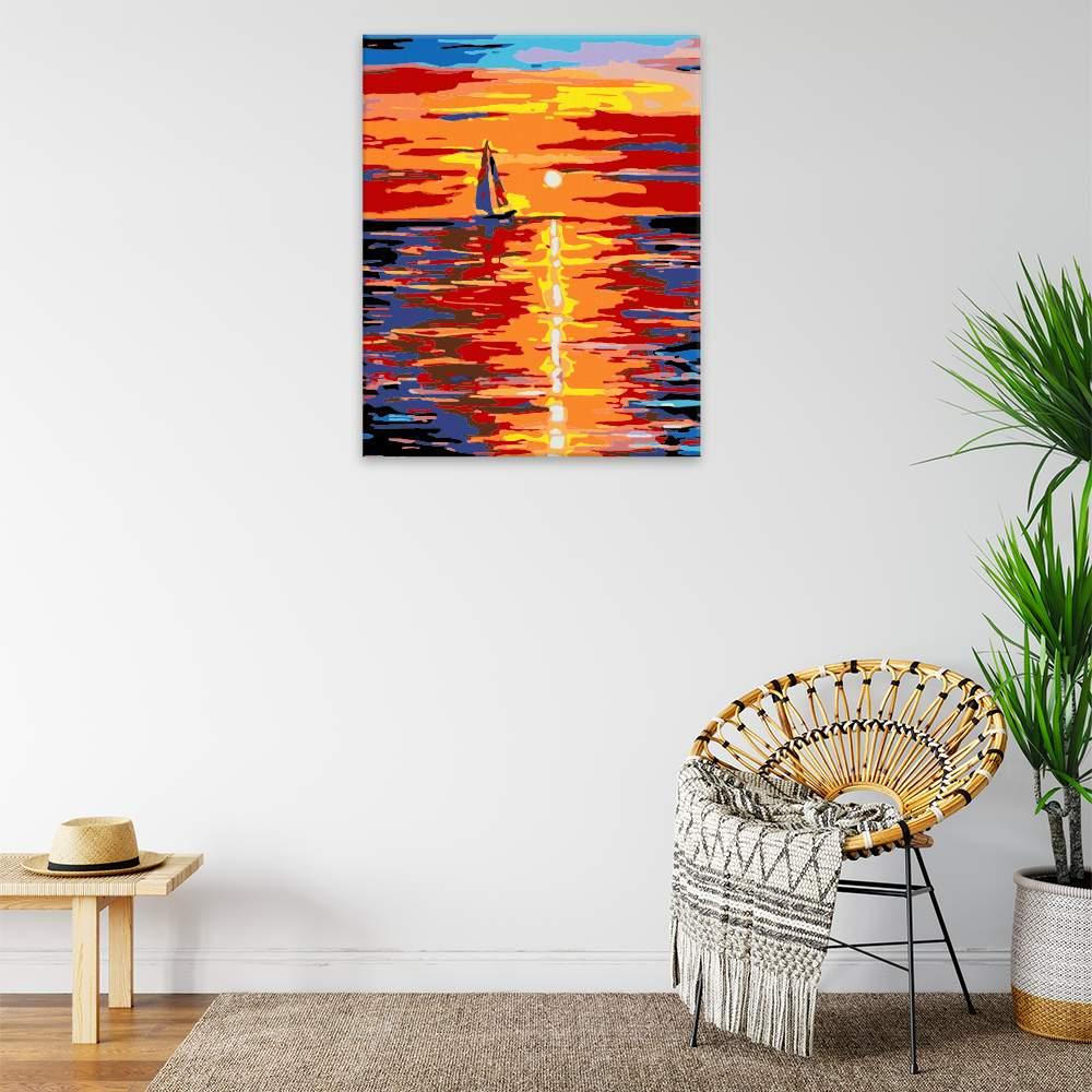 Malování podle čísel Plachtění při západu slunce