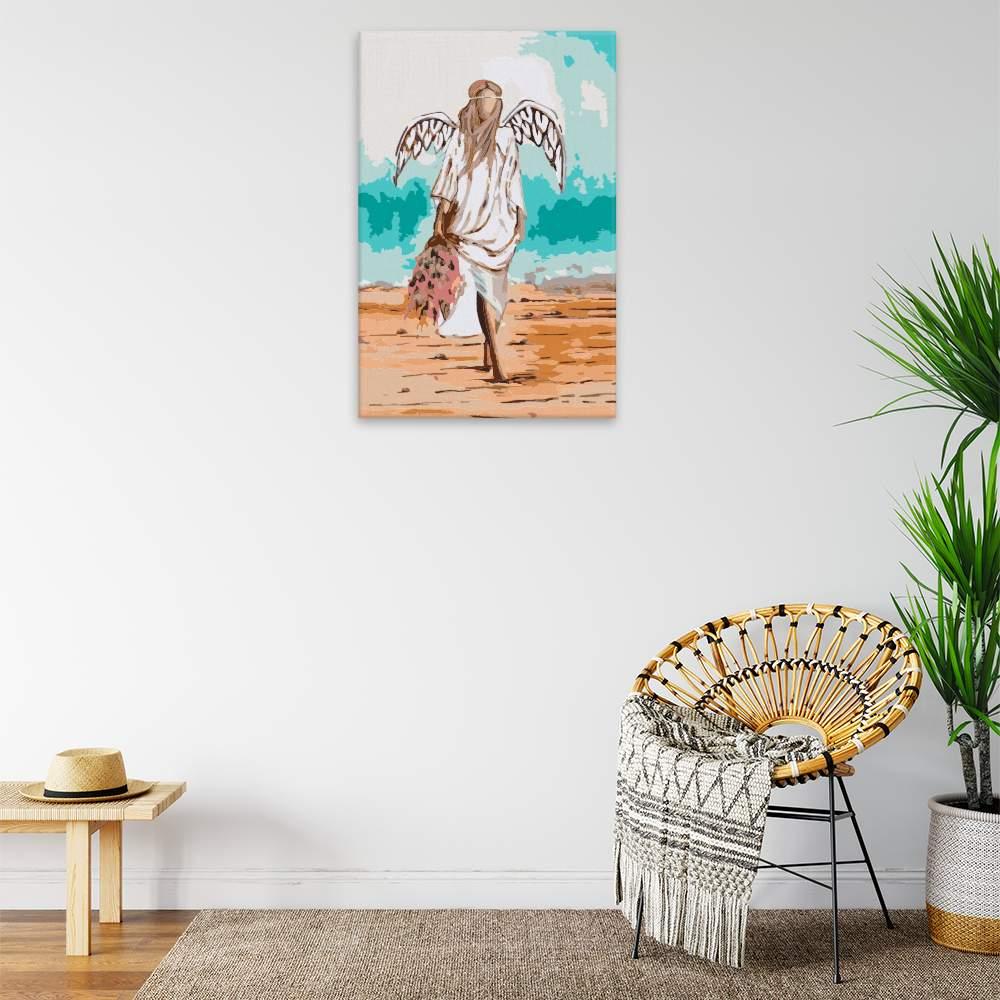 Malování podle čísel Anděl v písku s kytkou