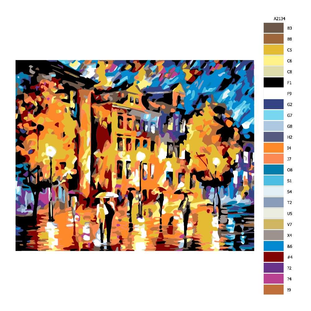 Návod pro malování podle čísel Za deště ve městě