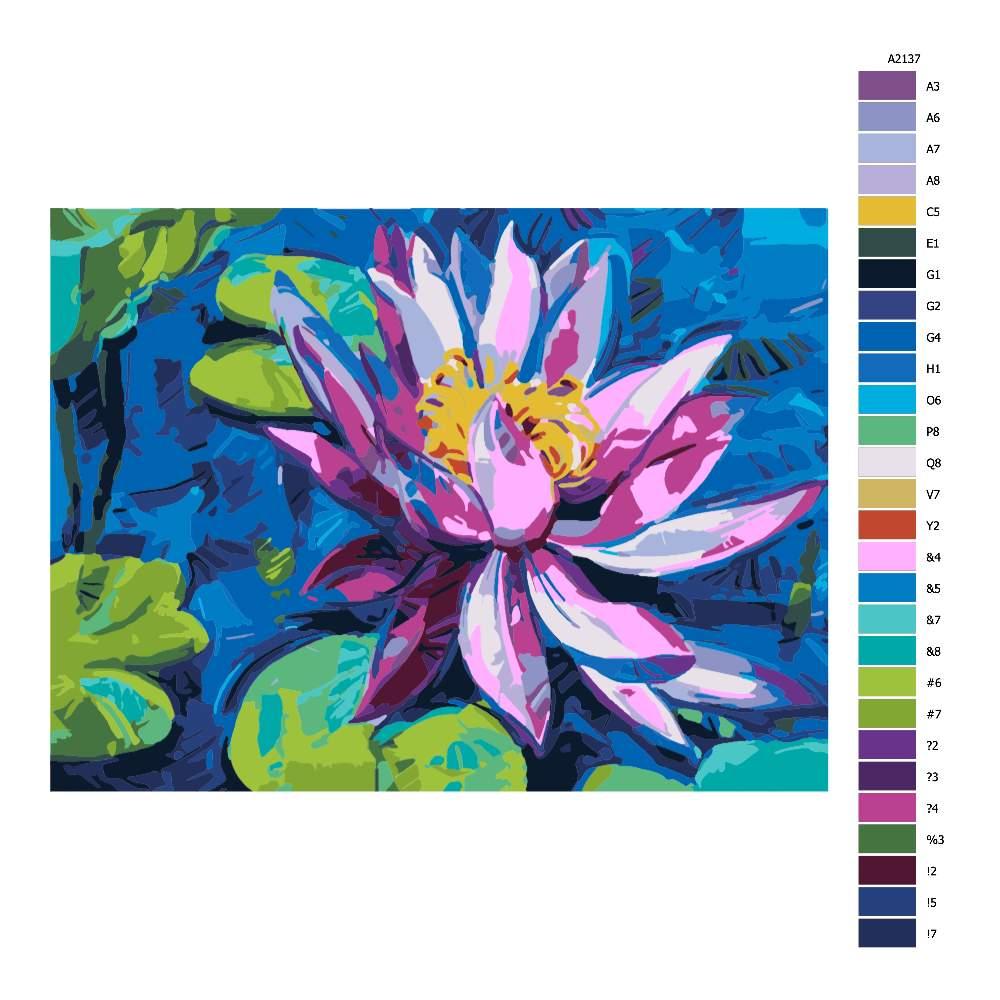 Návod pro malování podle čísel Květ vodního leknínu