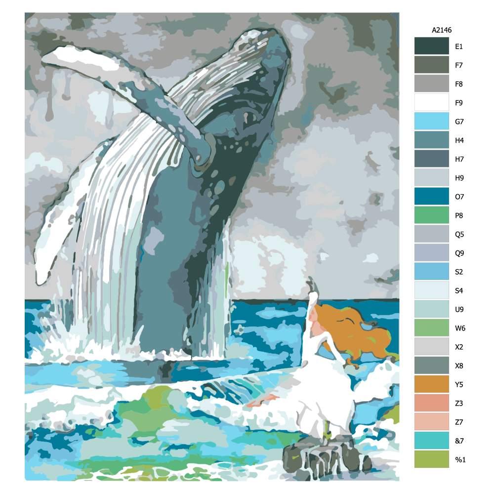 Návod pro malování podle čísel Taneční kreace s velrybou