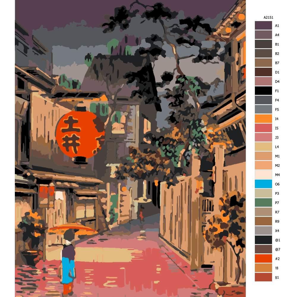 Návod pro malování podle čísel Japonský podvečer