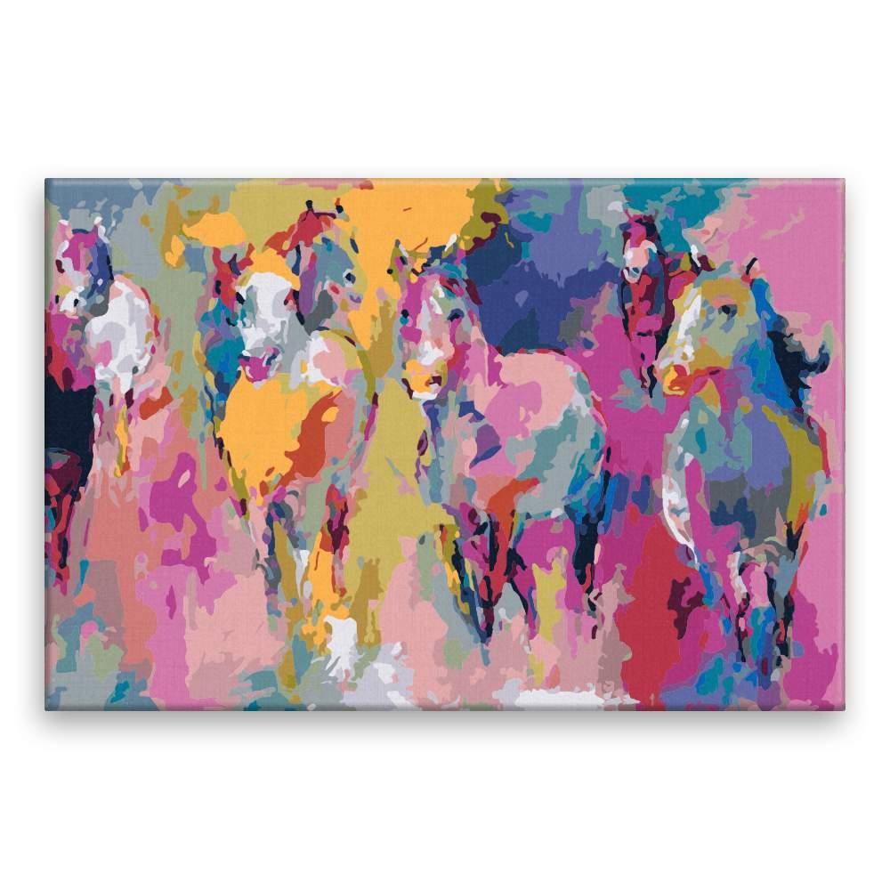 Malování podle čísel Barevné stádo koní