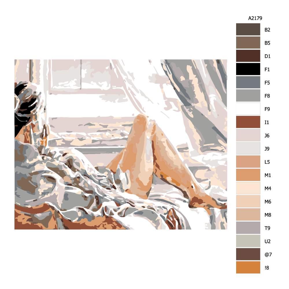 Návod pro malování podle čísel Ranní lenošení