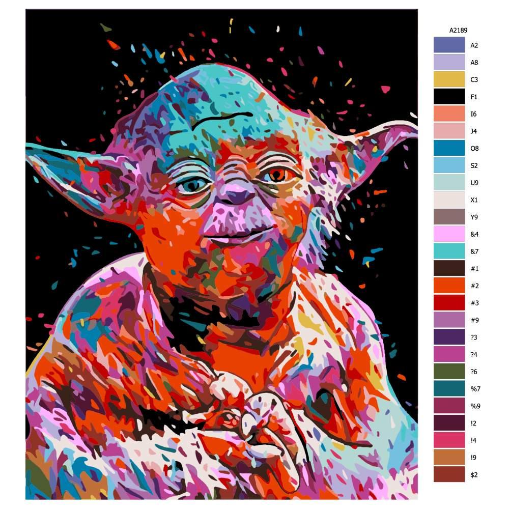 Návod pro malování podle čísel Yoda Star Wars
