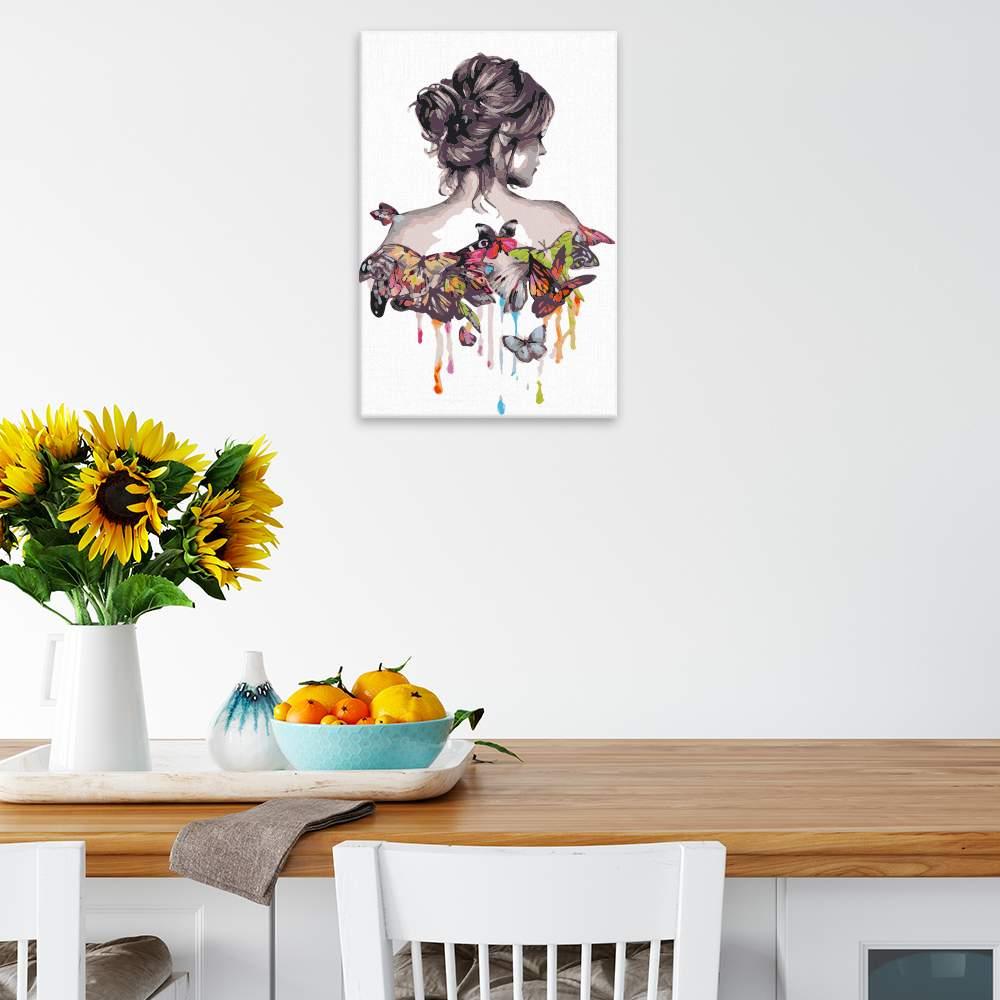 Malování podle čísel Žena s motýlými