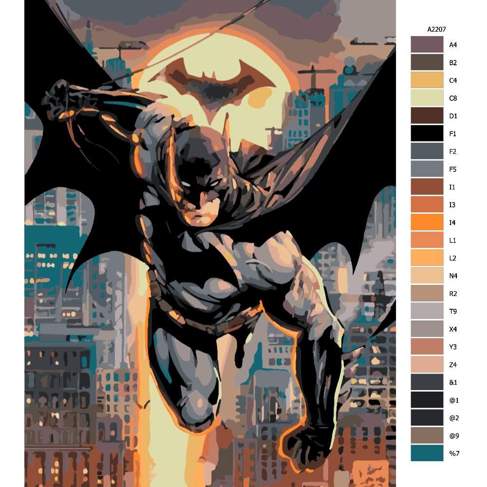 Návod pro malování podle čísel Batman 02