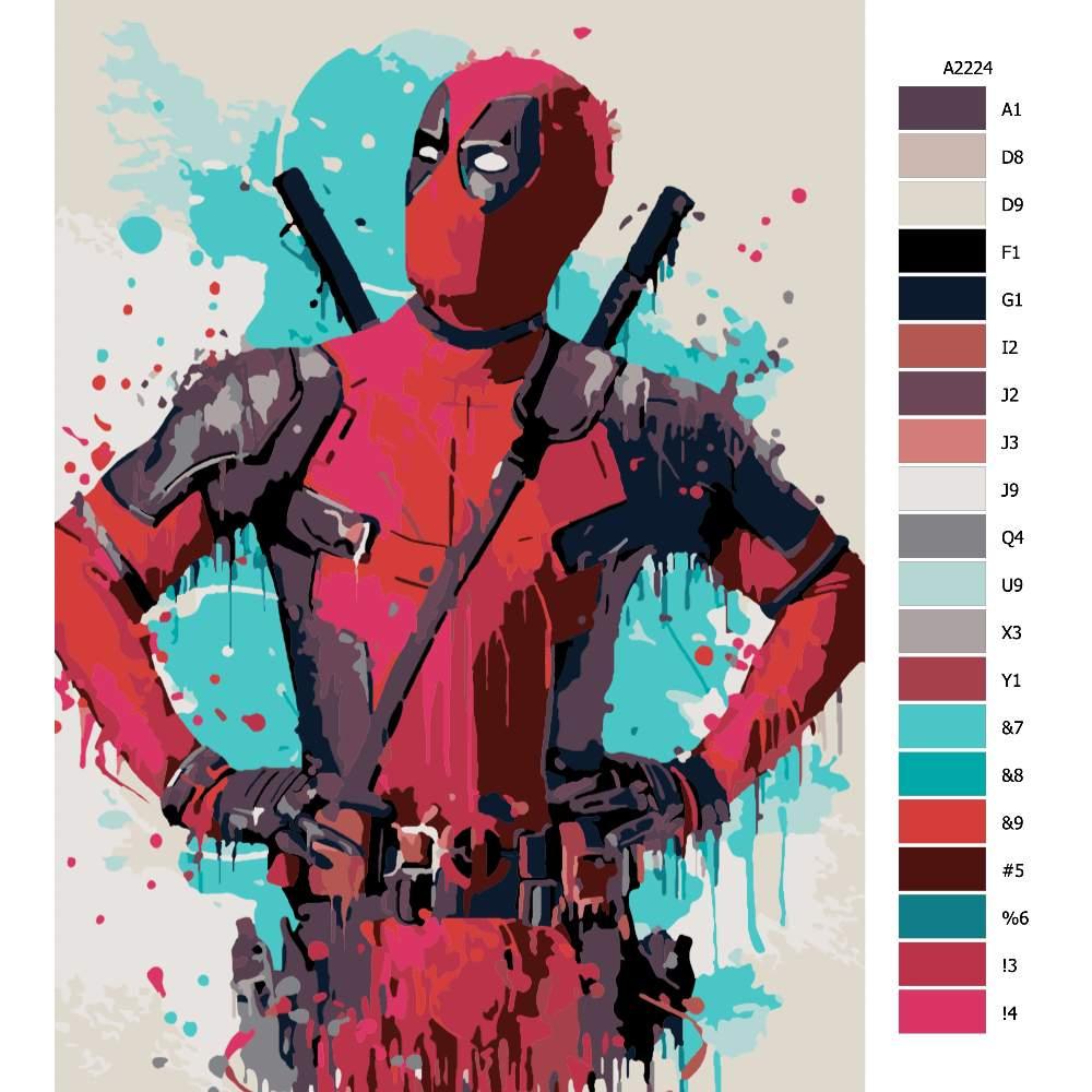 Návod pro malování podle čísel Deadpool 02
