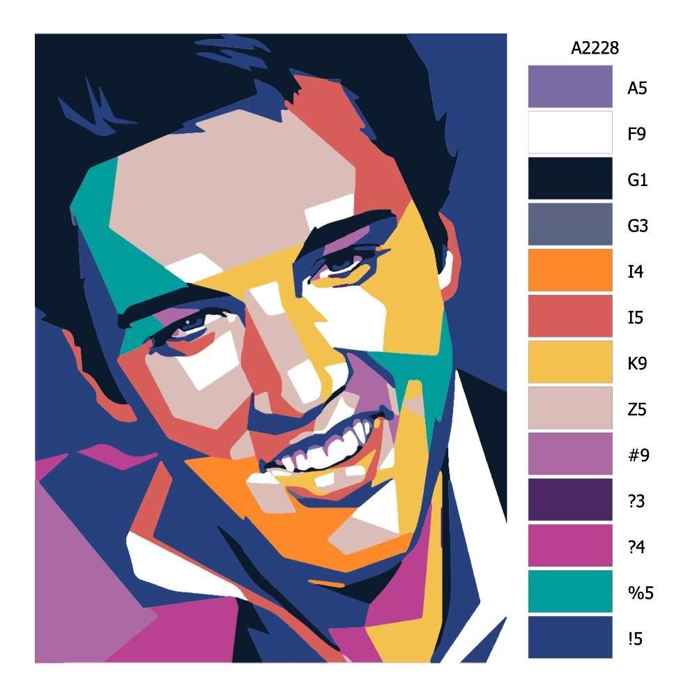 Návod pro malování podle čísel Elvis Plesley 01