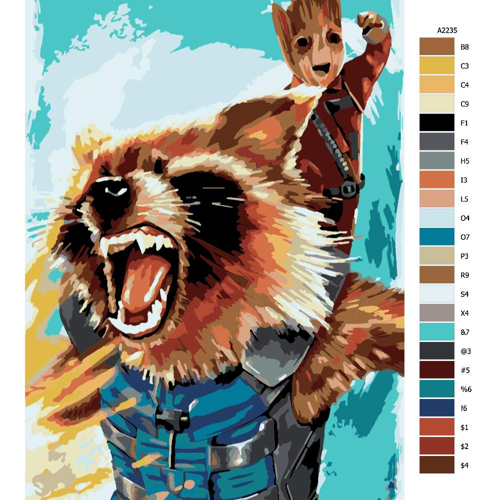 Návod pro malování podle čísel Groot 01