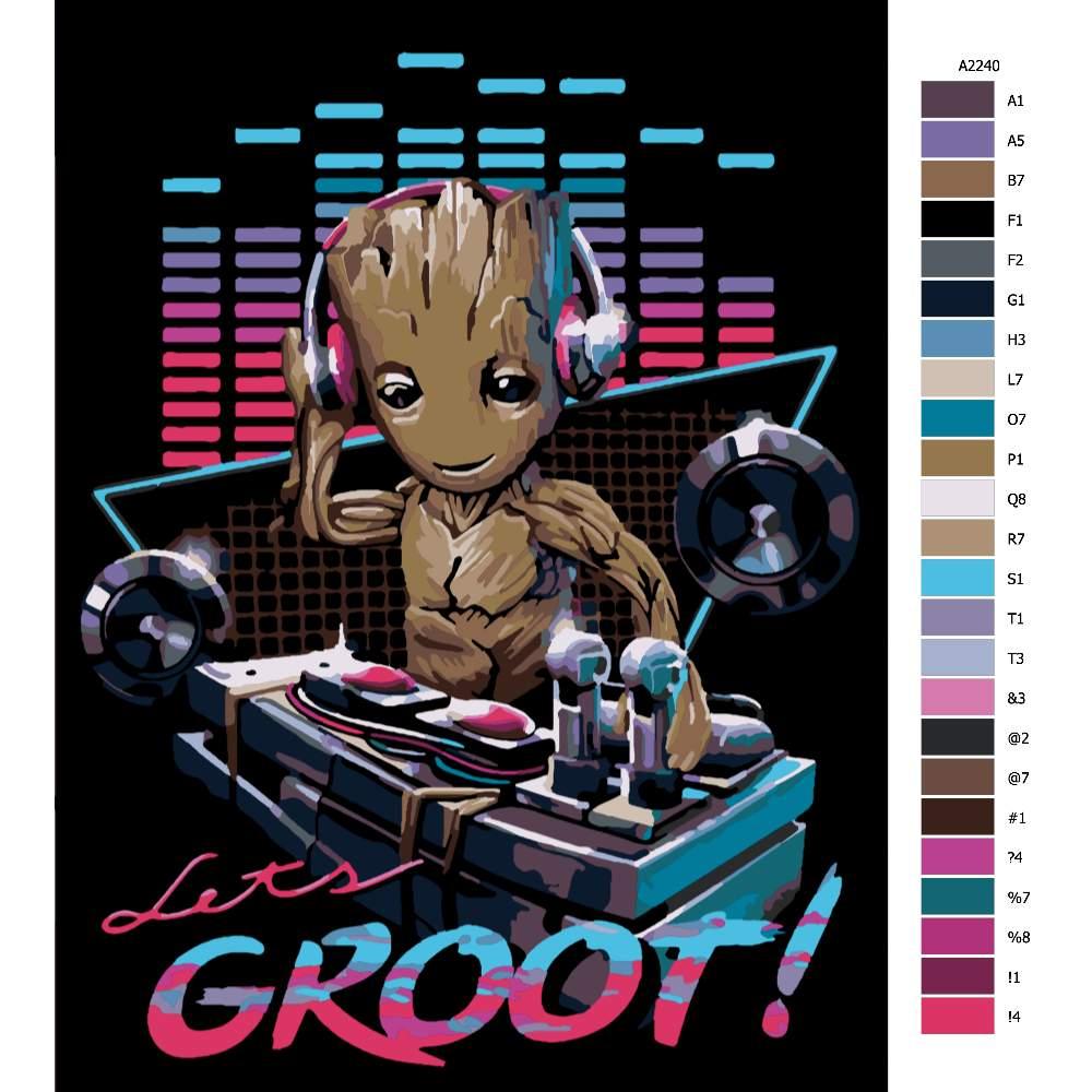 Návod pro malování podle čísel Groot DJ