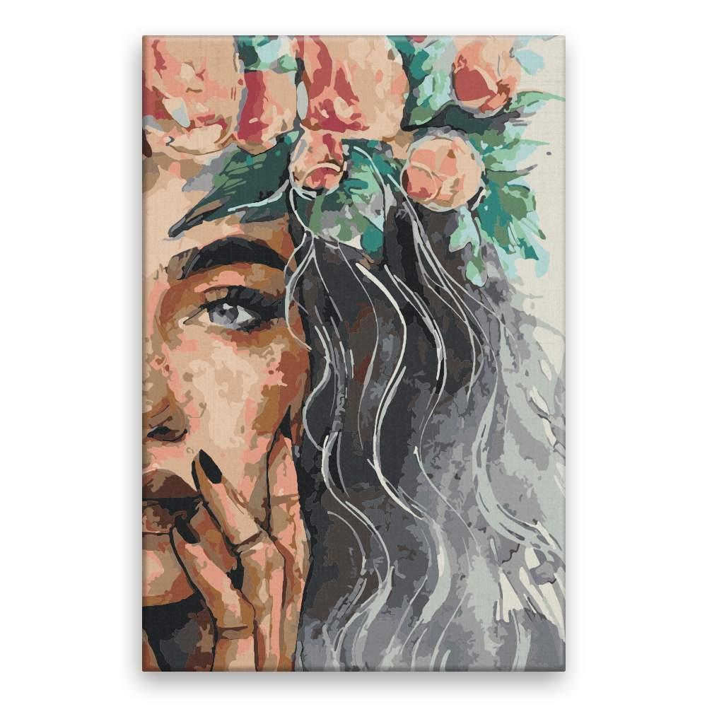 Malování podle čísel Květiny ve vlasech 40×60