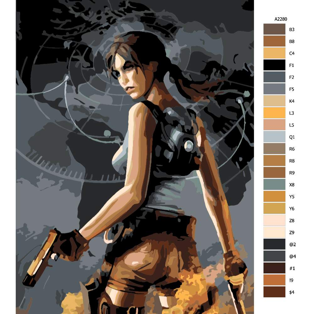 Návod pro malování podle čísel Lara Croft 03