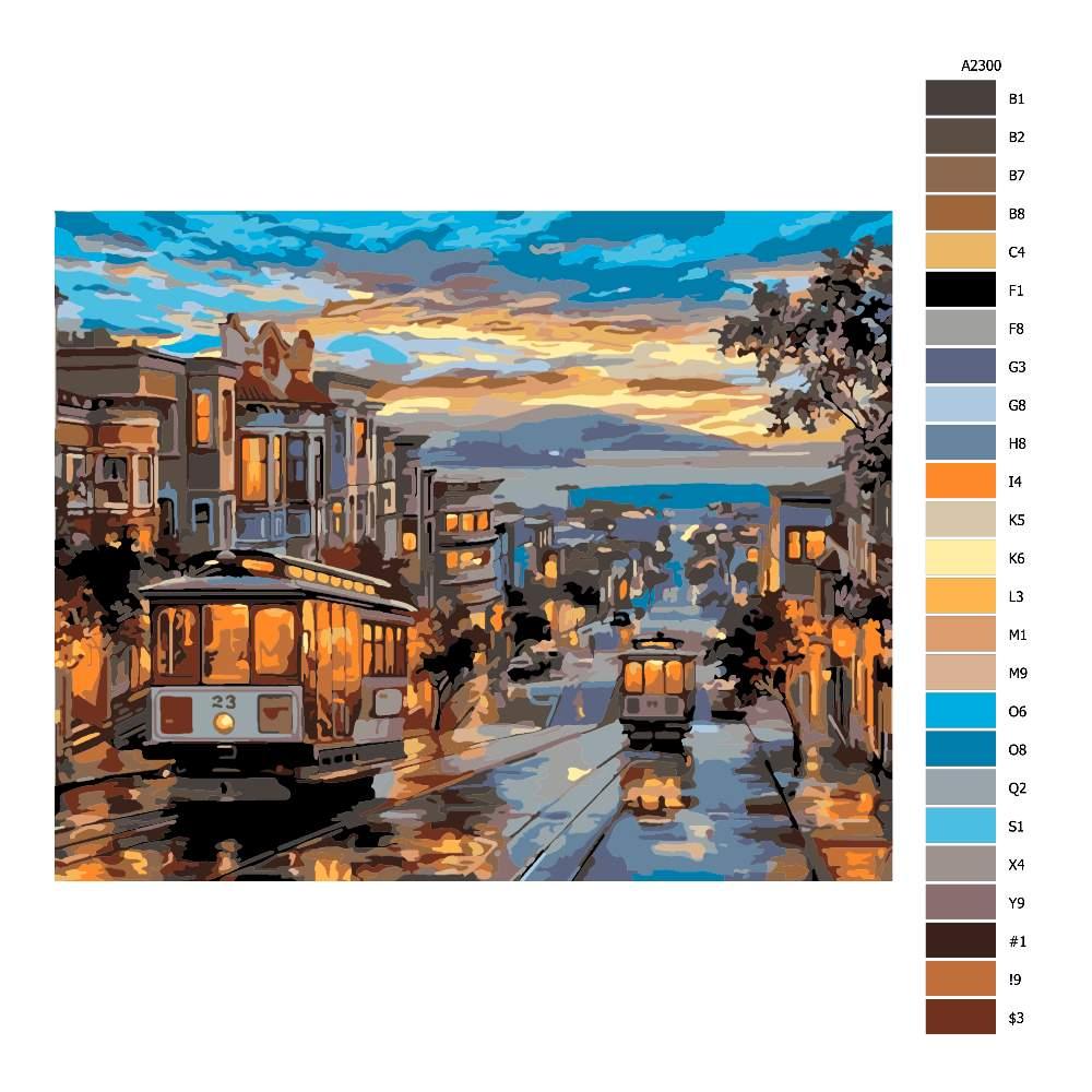 Návod pro malování podle čísel Noční tramvaj