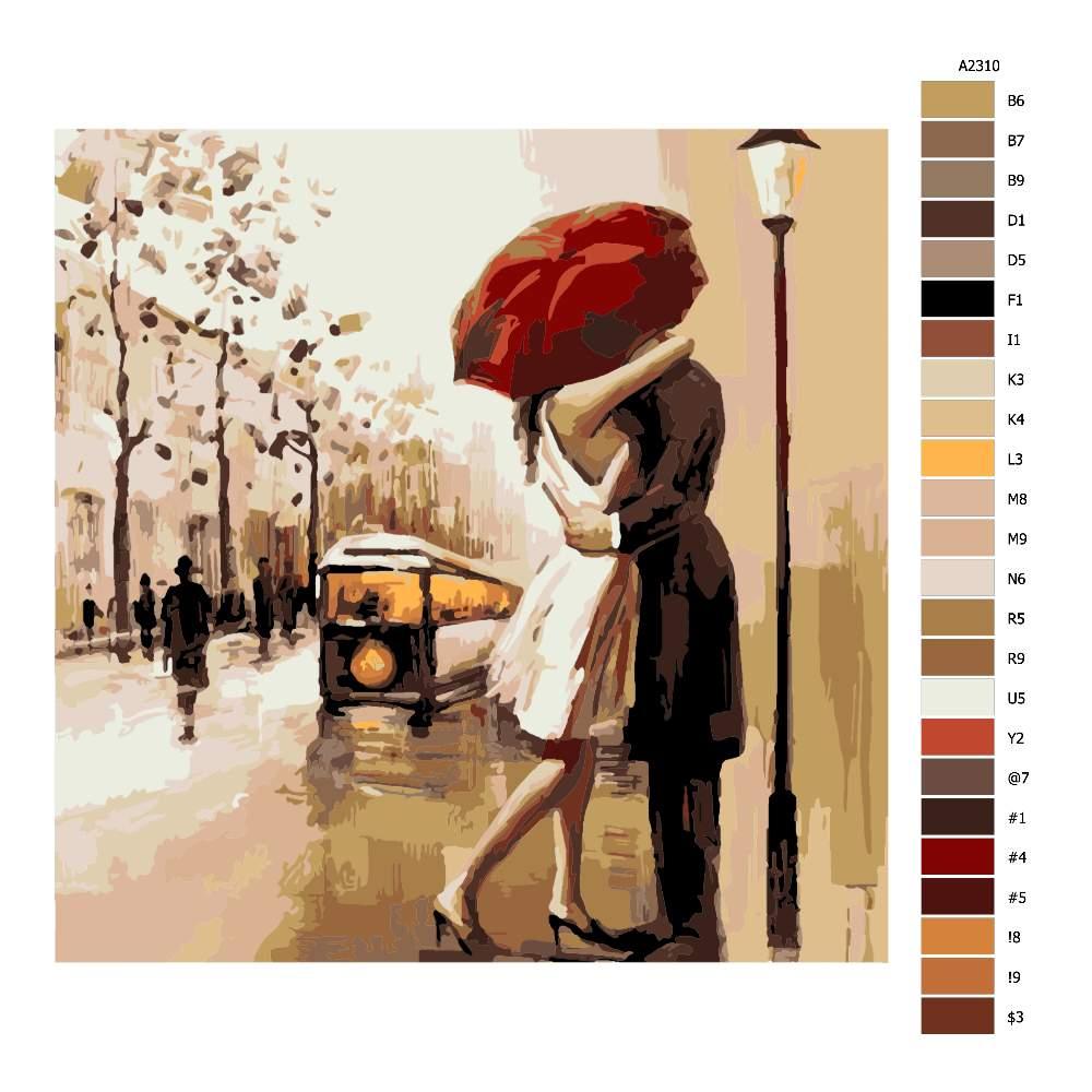 Malování podle čísel Pár pod deštníkem