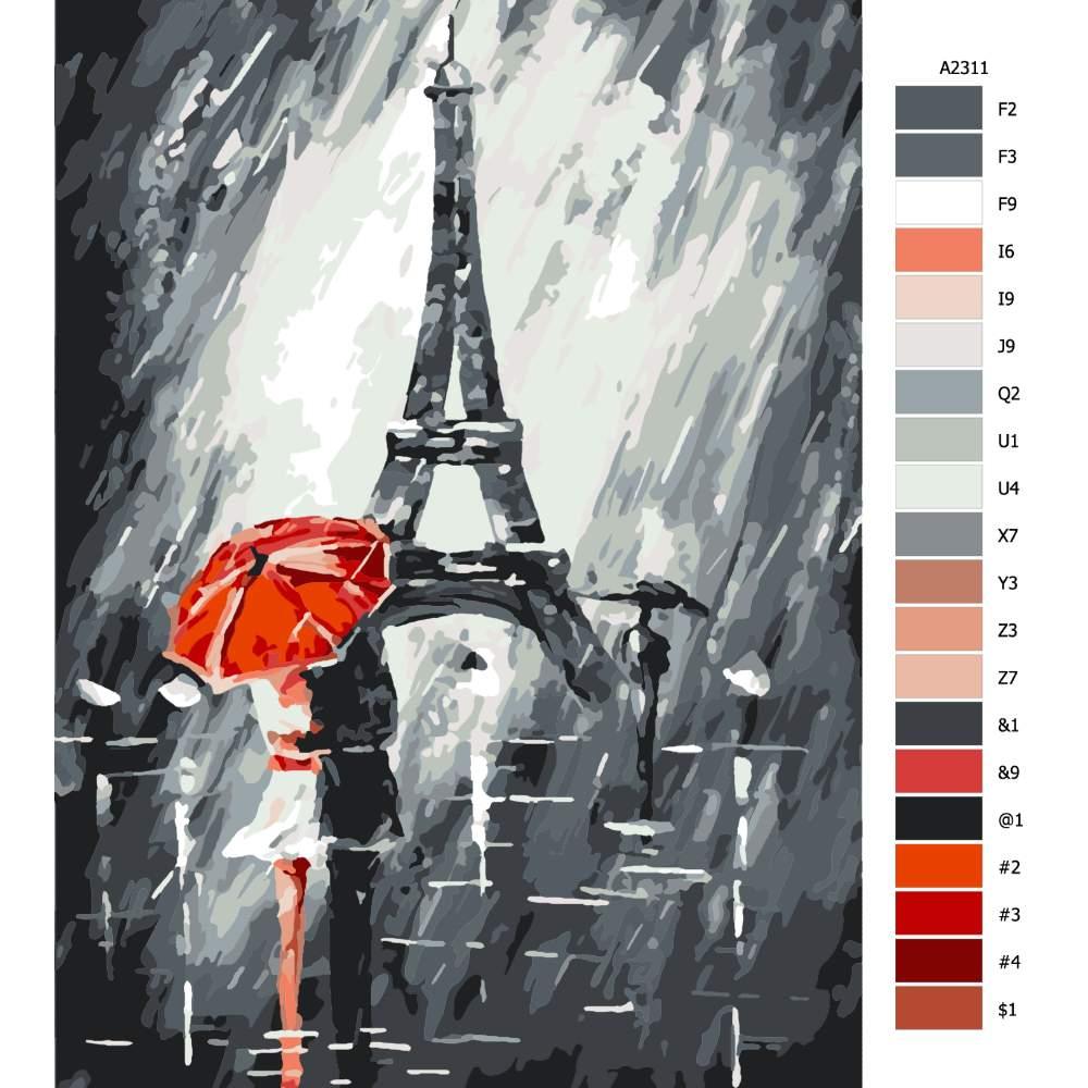Návod pro malování podle čísel Pod Eiffelovkou