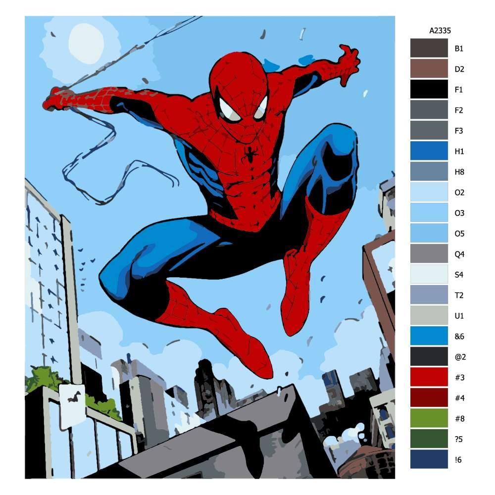 Návod pro malování podle čísel Spiderman 04