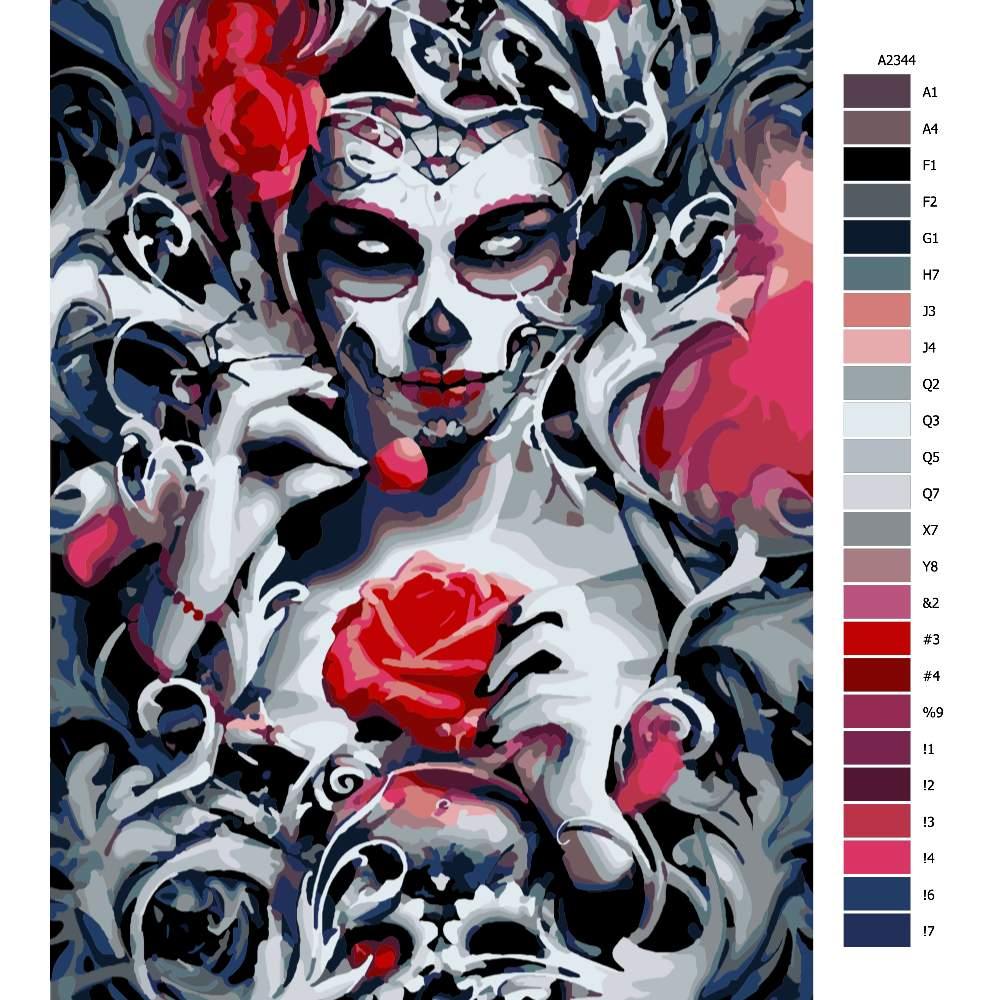 Návod pro malování podle čísel Den mrtvých