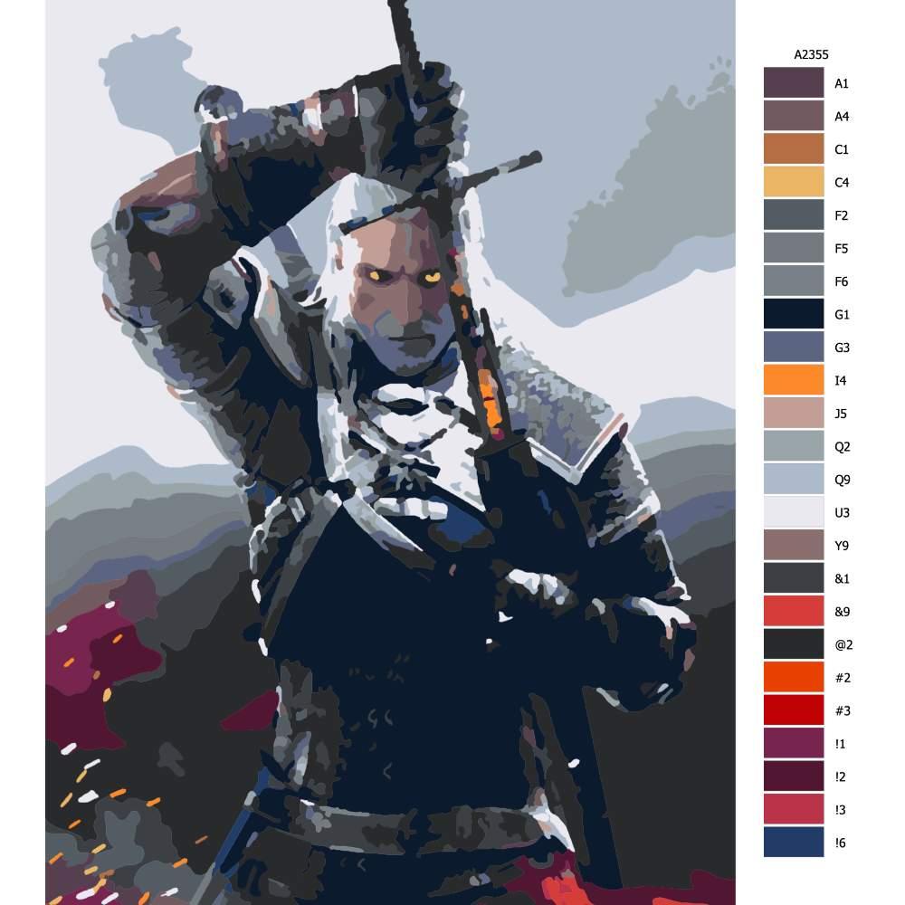 Návod pro malování podle čísel The Witcher 01